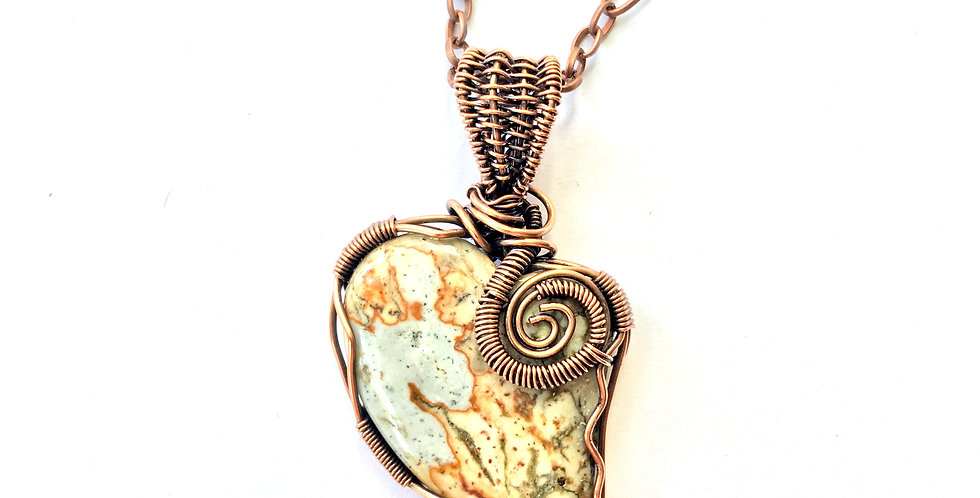 Light Colored Picasso Jasper Heart