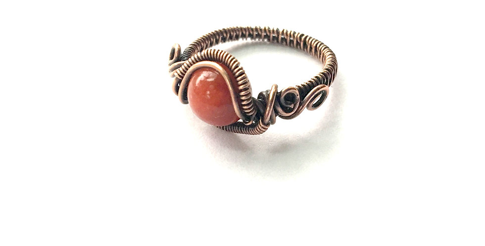 Coral Bead Ring - Sz 8 1/2