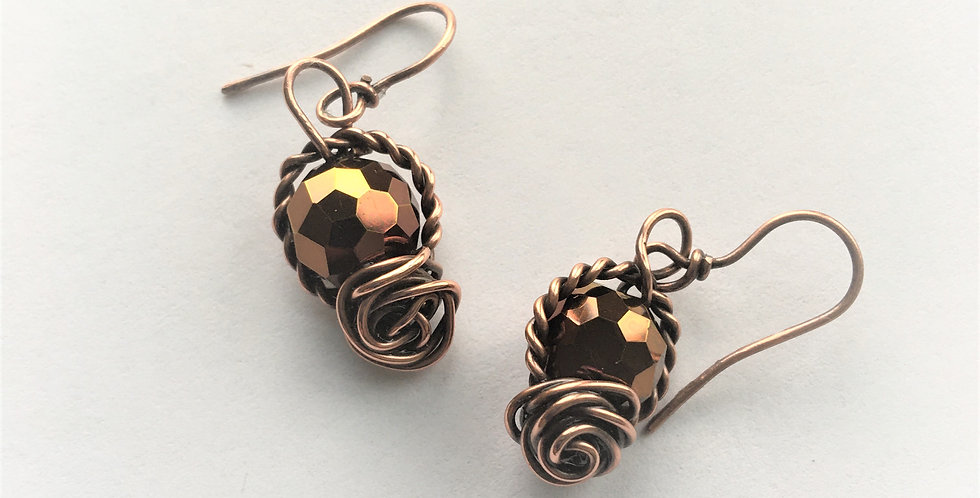 Faceted Glass & copper rosettes