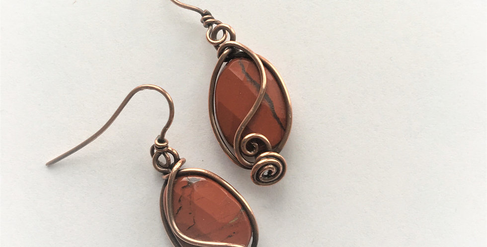 Faceted Red Jasper & double spirals