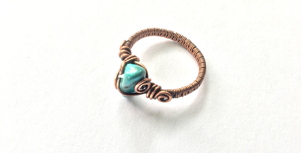 Turquoise Chip Ring Sz.9