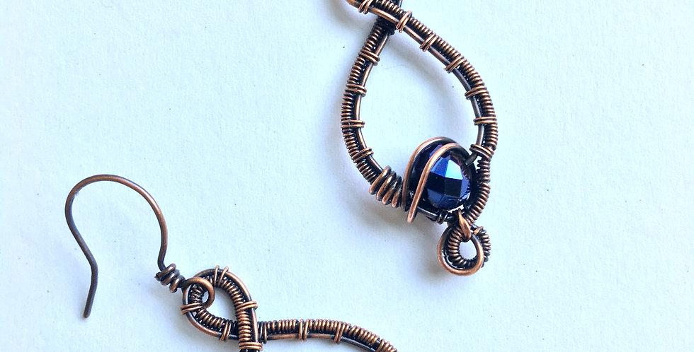 Twisted Woven Loops & Dark Blue Bead