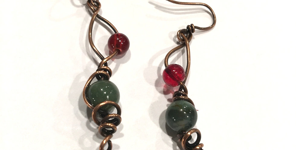 Twirly Copper Wire & Glass & Agate Beads