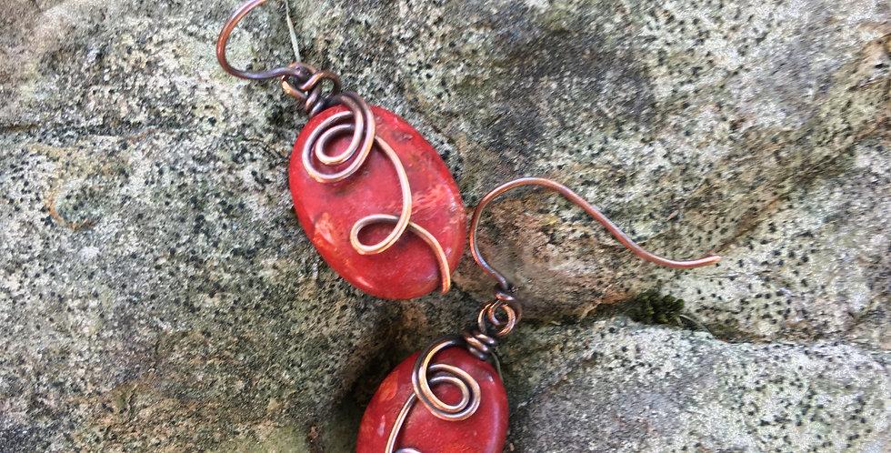 Red Jasper Oval Beads