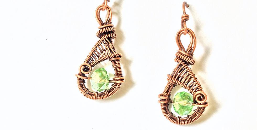 Green Glass Bead in Copper Teardrop