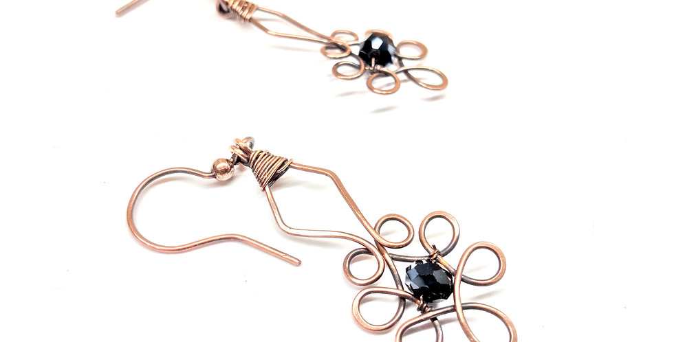 Copper Swirly Dangles & Faceted Black Bead