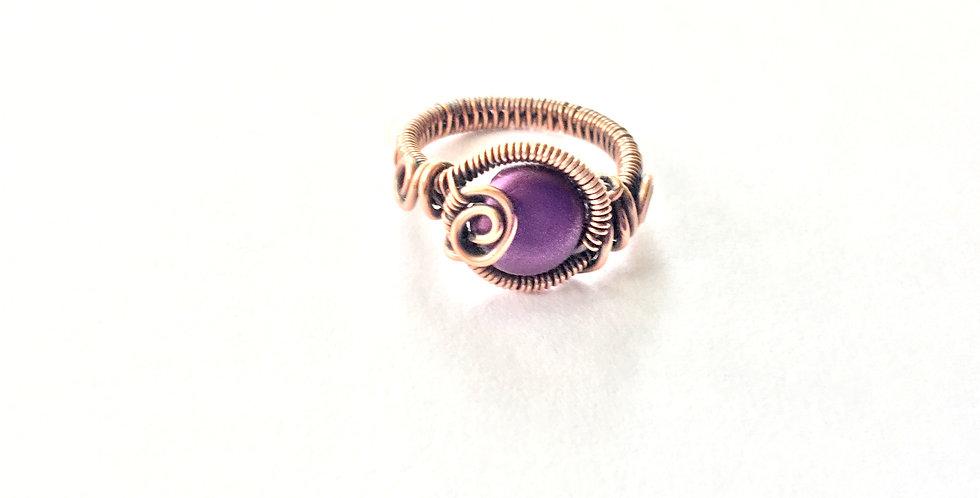 Silky Purple Resin Bead Ring Sz 4