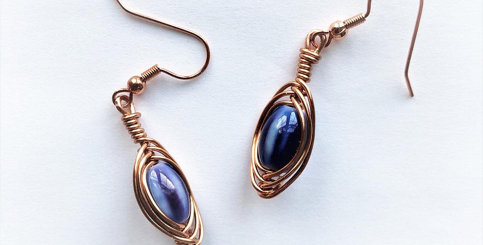 Blue Ceramic Beads in Bright Copper
