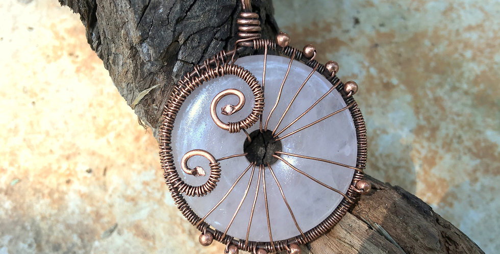 "Rose Quartz ""Donut""in Copper"