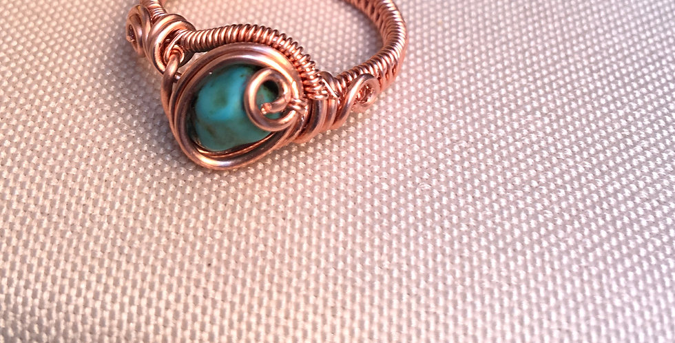 Turquoise Chip Ring (unfinished copper)
