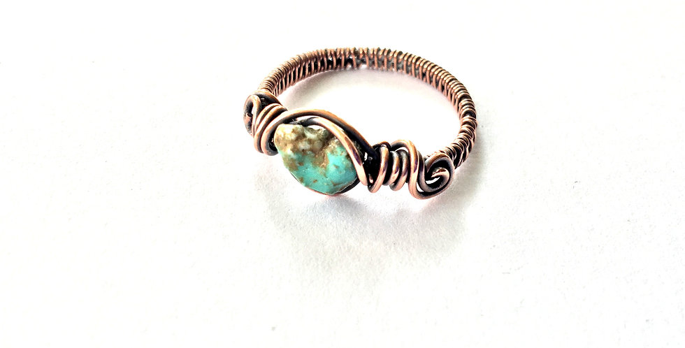 Turquoise Chip Ring Sz 10