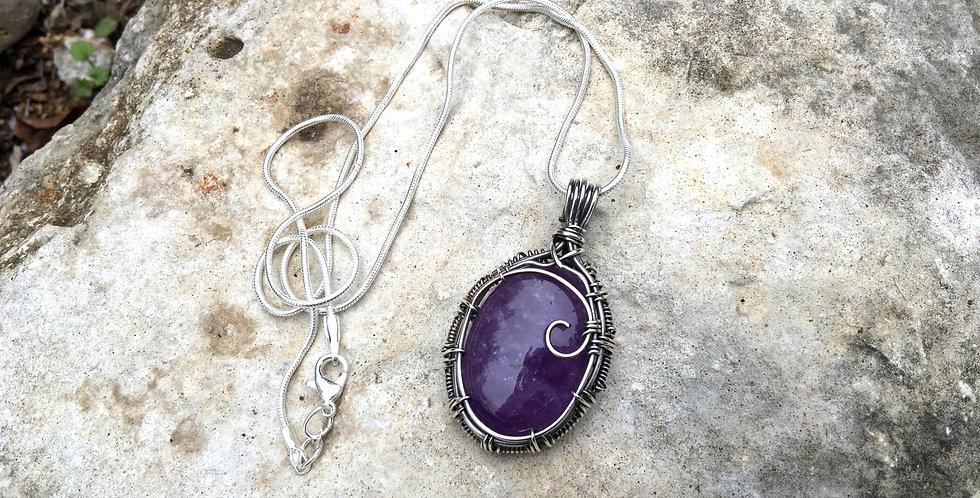 Amethyst Oval in Antiqued Sterling Silver
