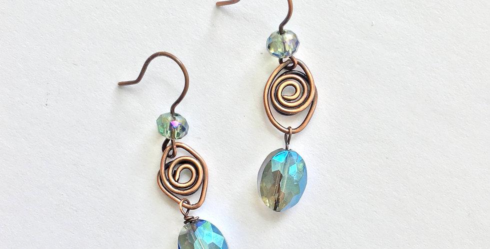 Blue Sparkles under Copper Spiral