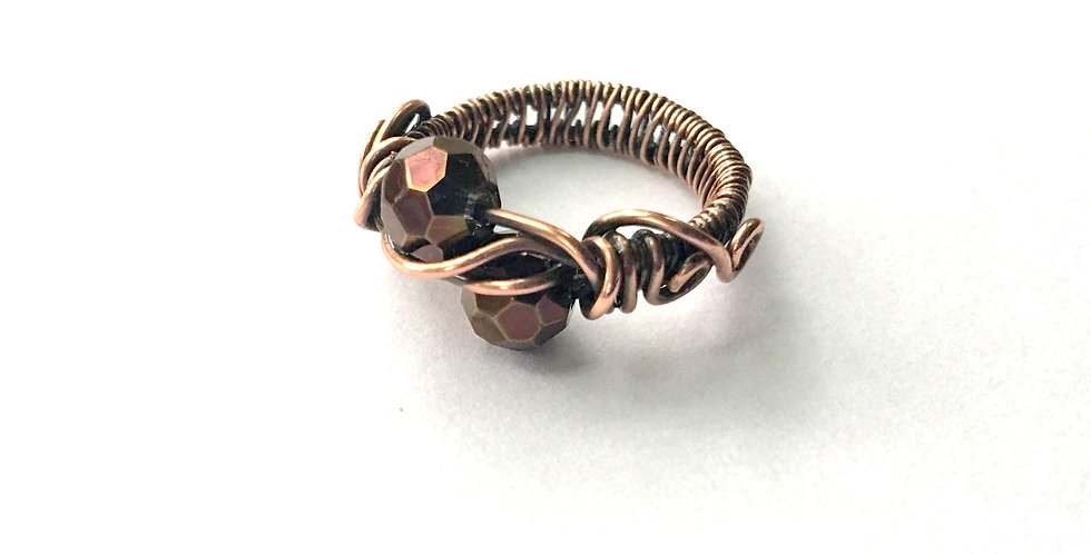 Faceted Rusty Purple Glass Bead Ring