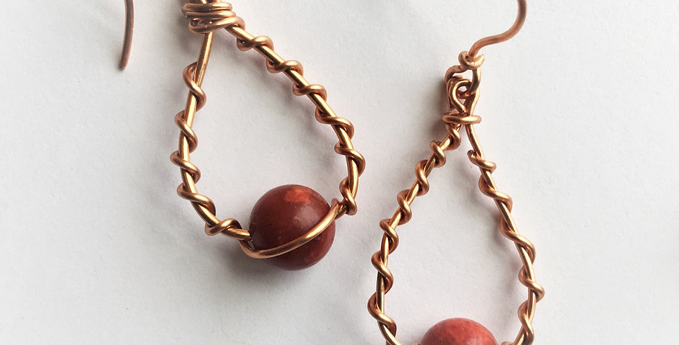 Coral Beads & Copper Twist