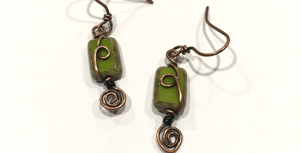 Czech Glass Green Oblong Beads & Spirals