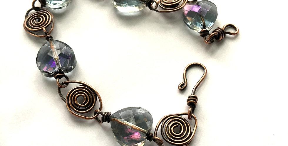 Faceted Glass Hearts Bracelet