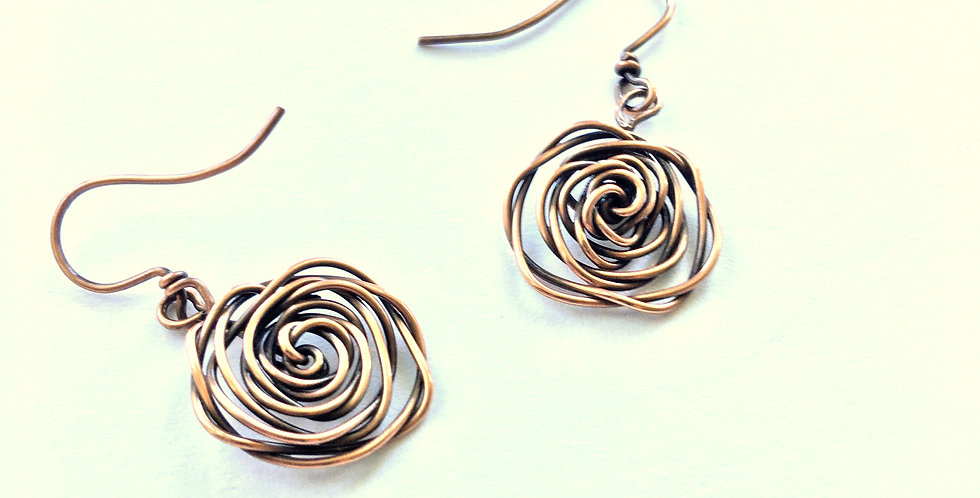 Large Copper Rosette Short Dangles