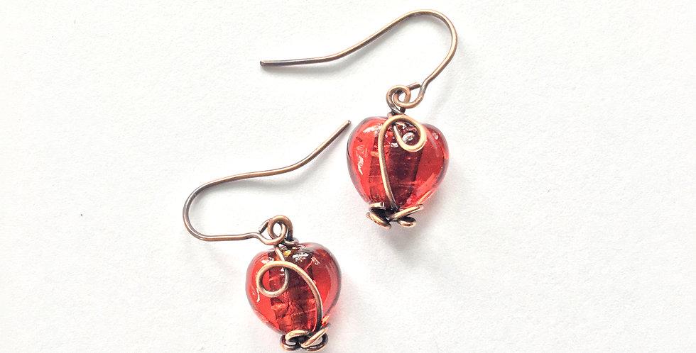 Glass hearts in copper