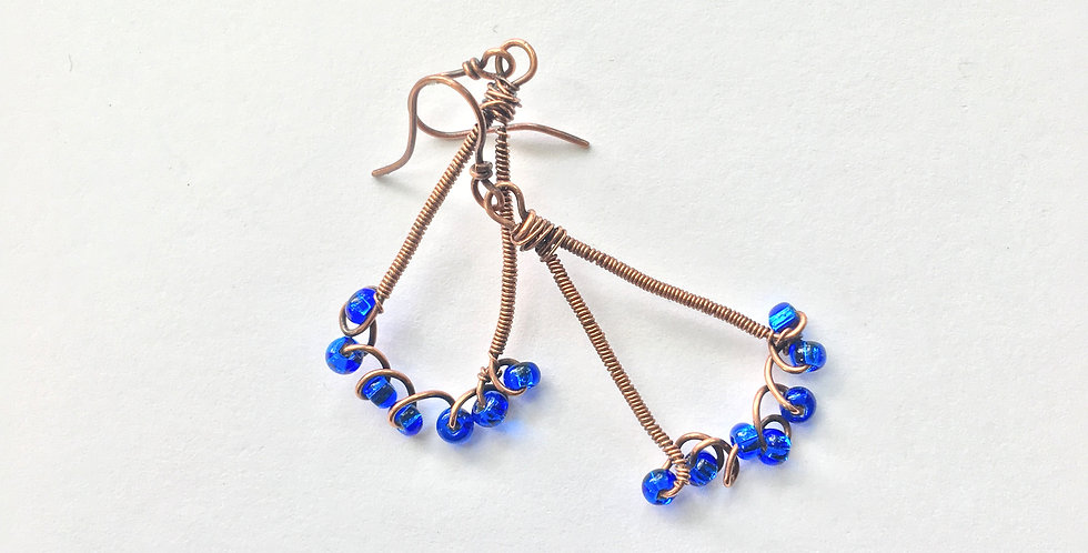 Blue Glass & Coiled Copper
