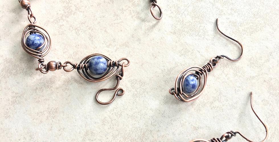 Sodalite Bead & Copper Bracelet & Earring Set
