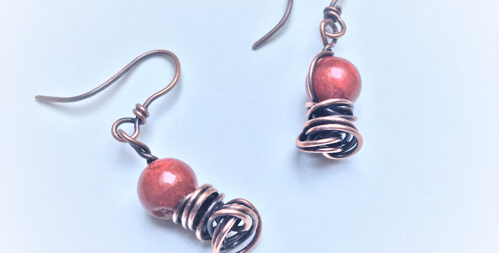 Coral Beads on Copper Tangle