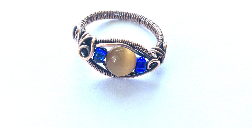 Blue & Yellow Glass Bead Ring Sz 10