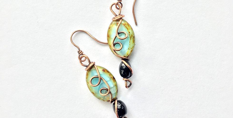 Czech Glass Beads & Copper Swirls