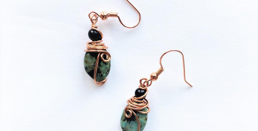 Green Forest Jasper in bright copper