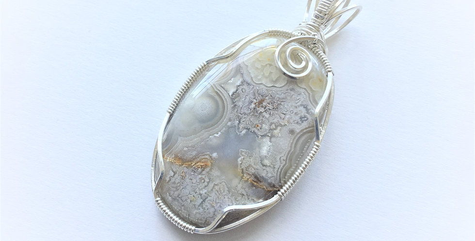 Crazy Lace Agate Oval in Sterling