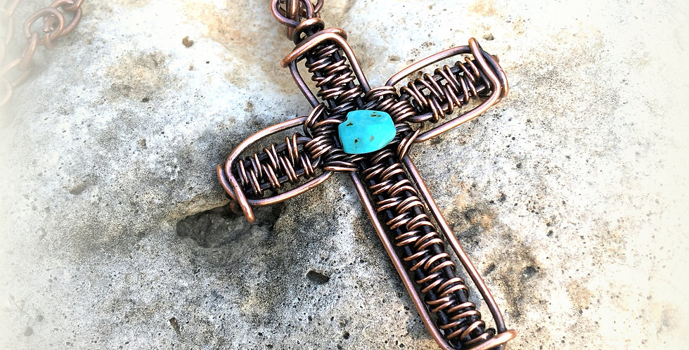Woven Copper Cross with Turquoise