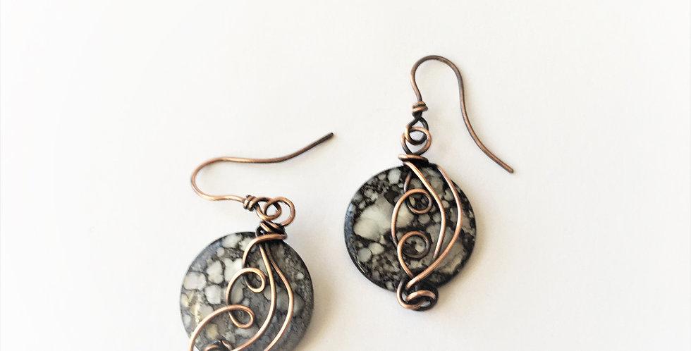 Flat shell beads & copper swirls