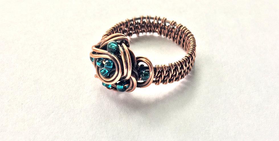 Swirls & Glass Seed Beads Ring Sz 10 1/2