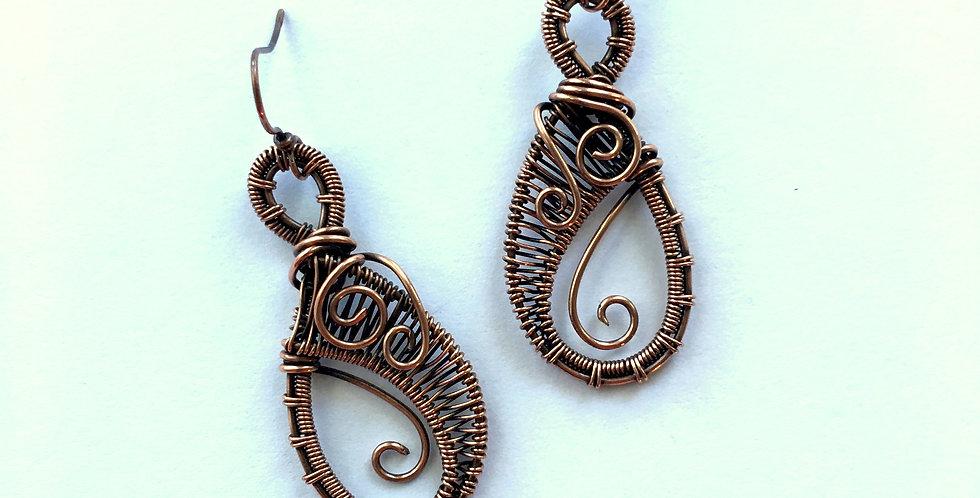 Tall Copper Weave Teardrops w/ Inside Scroll