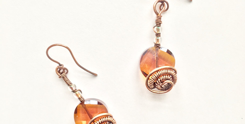 Amber colored glass and Copper Coils