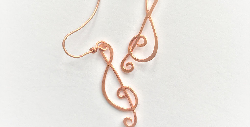 Hammered Copper Clefs