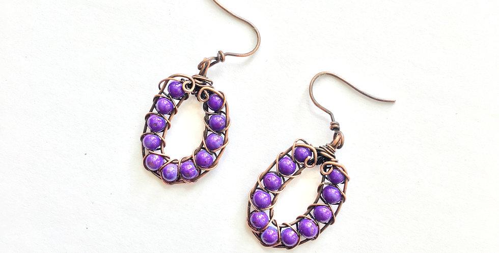 Purple Bead Loops in Copper