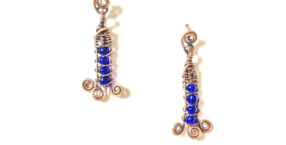 Blue Glass Beads in Copper