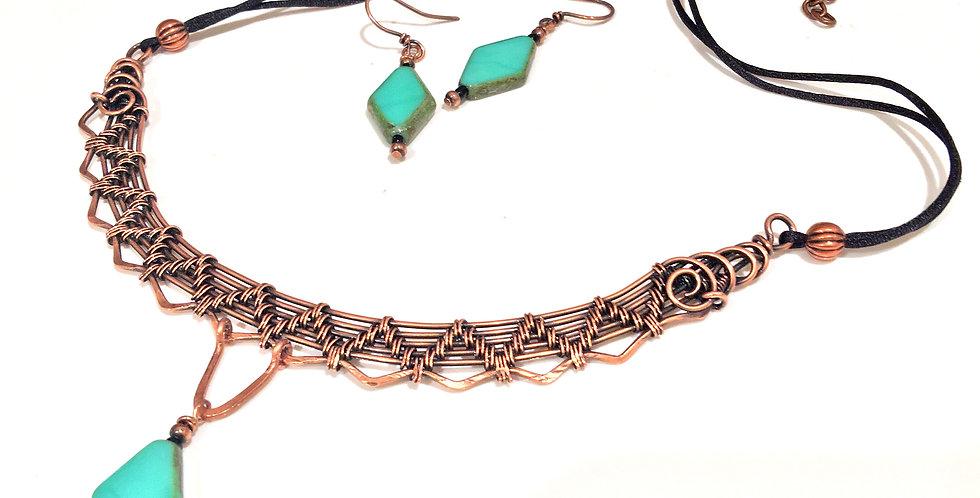 Woven Copper Choker & Earring Set