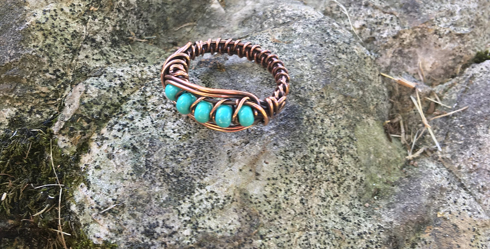 Turquoise Color Beads Ring Sz 9