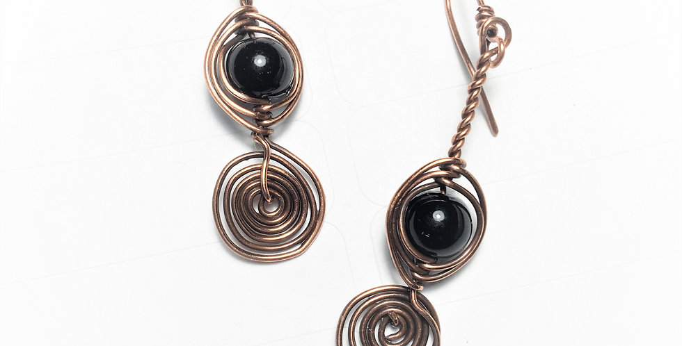 Black Onyx Bead and Spirals
