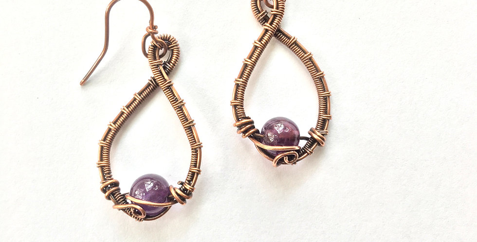 Amethyst Beads in Woven Copper Loops