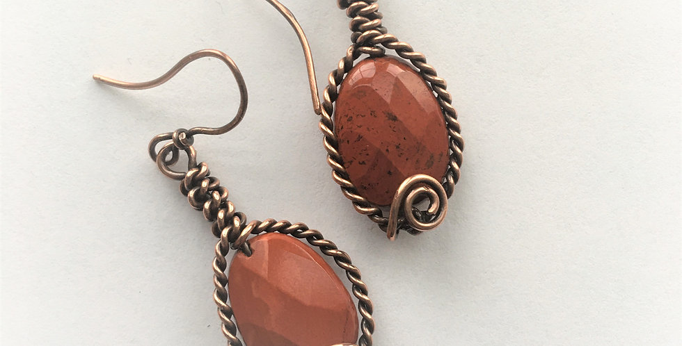 Faceted Red Jasper in twisted copper wire
