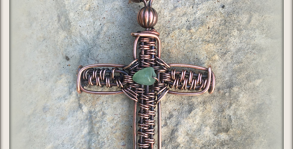 Woven Copper Cross with Aventurine