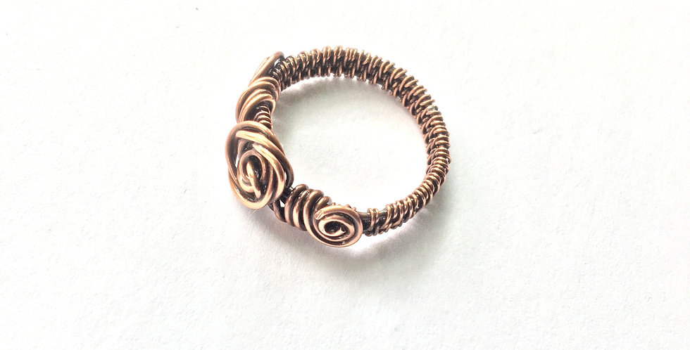 Copper Rosette ring Sz.8 1/2