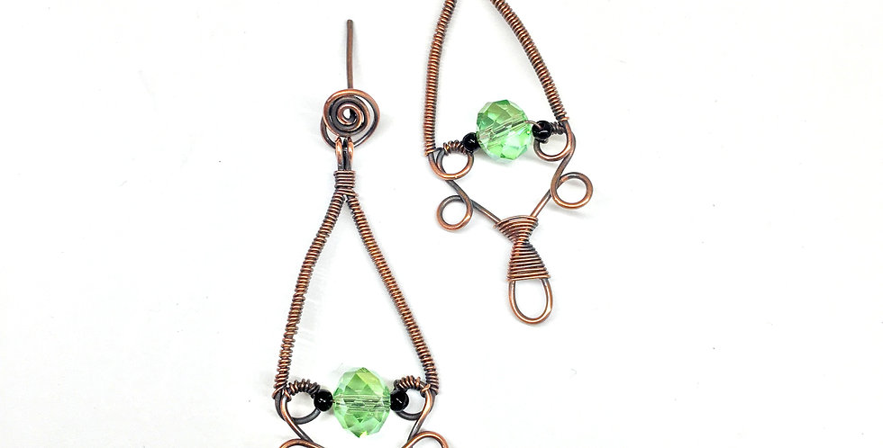 Copper Dangles & Green Bead