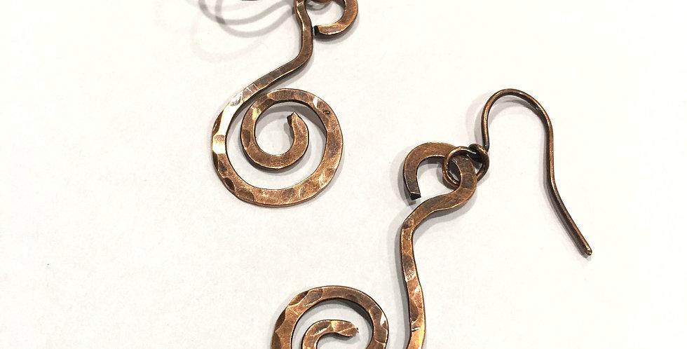 Hammered Copper Spirals