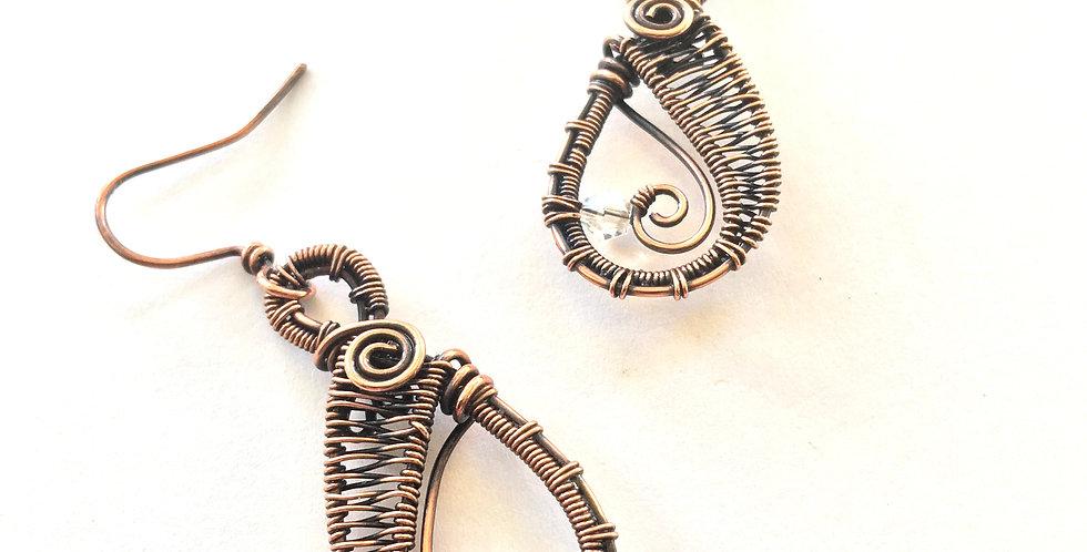 Copper Weave Teardrops w/ glass bead