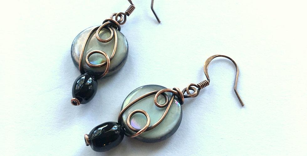 Abalone, Black Glass & Copper Squiggles