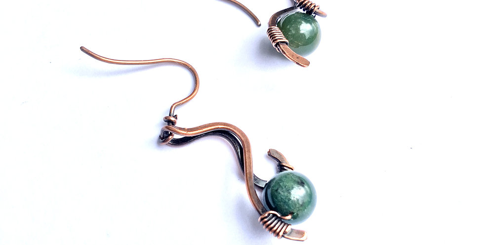 Green Agate Beads in Hammered Copper